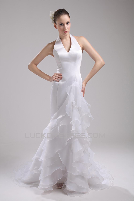 Mermaid trumpet sleeveless halter satin organza wedding for Organza trumpet wedding dress
