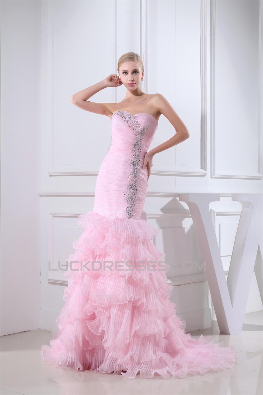Mermaid/Trumpet Sweetheart Sleeveless Satin Organza Sweet Pink ...