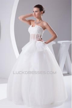 Ball Beaded Lace Strapless Satin Fine Netting Wedding Dresses 2030223