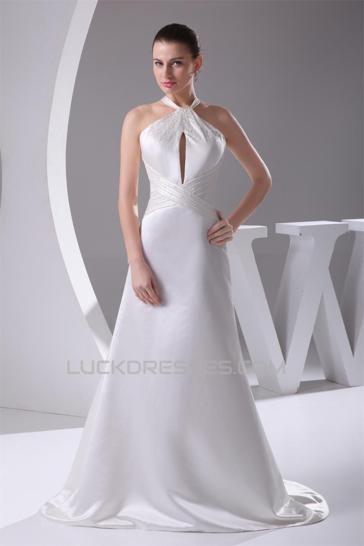 New Style Halter A-Line Sleeveless Satin New Arrival Wedding Dresses ...