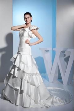 A-Line One-Shoulder Satin Lace Sleeveless Reception Wedding Dresses 2030240