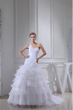 Princess Sleeveless One-Shoulder Satin Organza Beaded Wedding Dresses 2030253