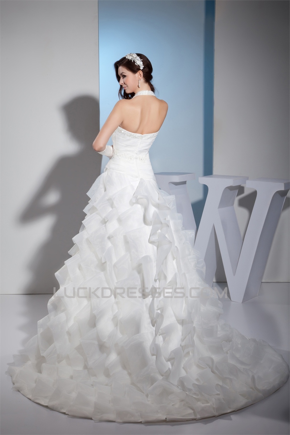 8e7ab450c51 Princess Sleeveless Satin Lace Organza Halter New Arrival Wedding Dresses  2030255
