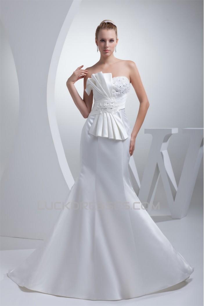 Mermaid/Trumpet Beaded Lace Satin Strapless Wedding Dresses 2030260