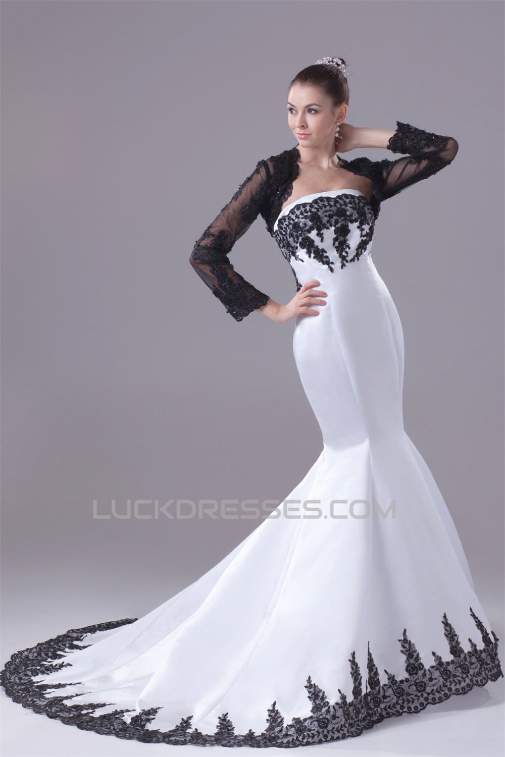 Trumpet Satin Lace Black White Wedding Dresses with A Lace Jacket ...