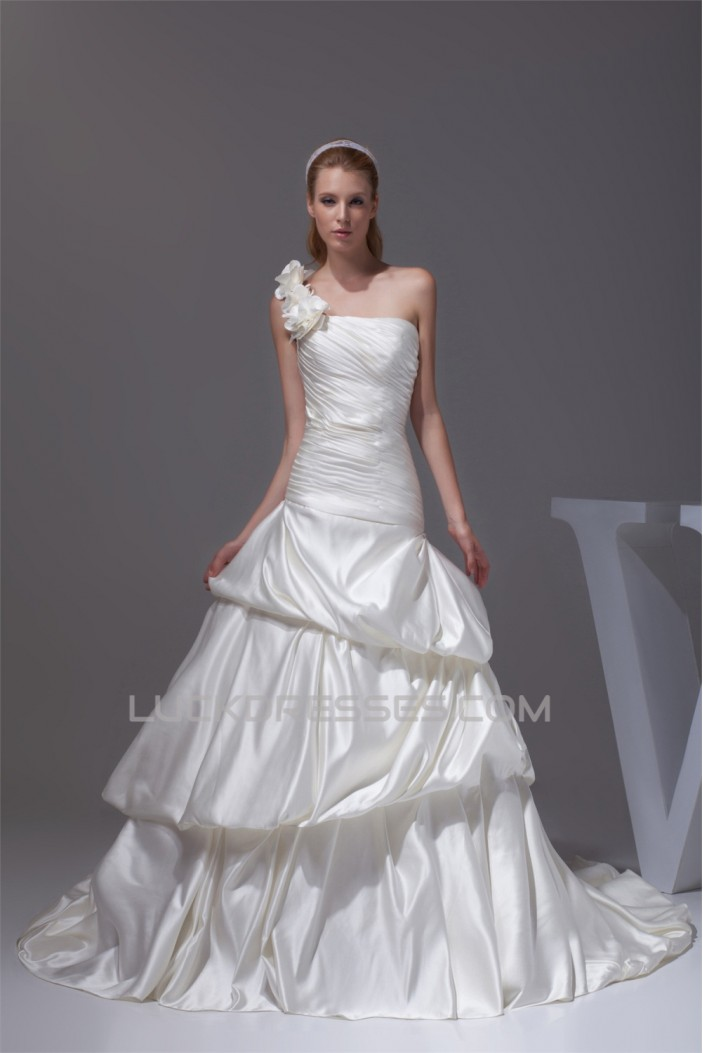 Satin Sleeveless One-Shoulder A-Line New Arrival Wedding Dresses 2030303