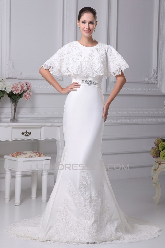 Mermaid/Trumpet Satin Sleeveless Scoop Lace Wedding Dresses 2030304