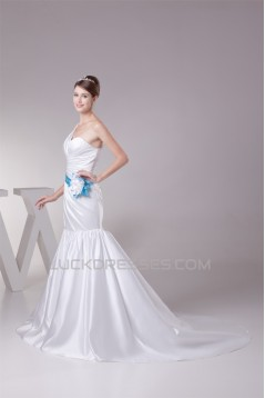 Trumpet/Mermaid Satin One-Shoulder Wedding Dresses 2030325