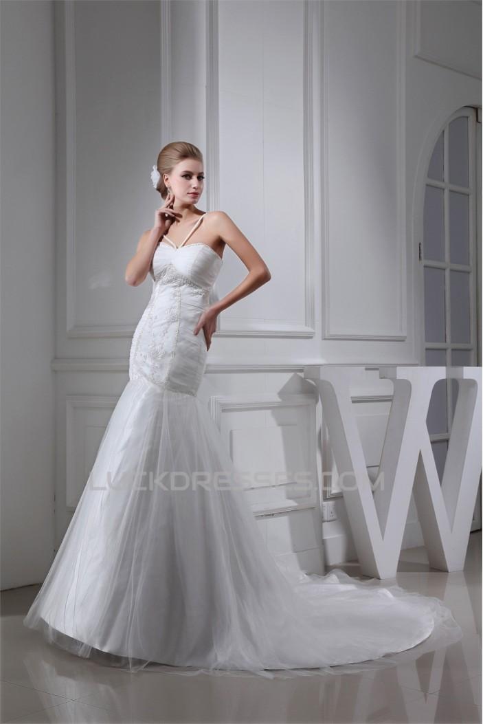 Trumpet/Mermaid Sweetheart Beaded Lace Wedding Dresses 2030345