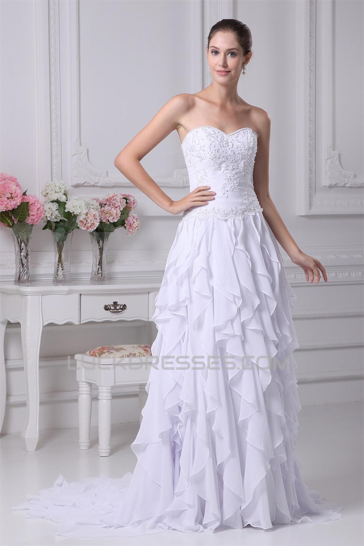 Sleeveless A Line Sweetheart Chiffon Silk Like Satin Wedding Dresses 2030356