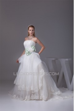 Ball Gown Strapless Sleeveless Satin Organza Nettting New Arrival Wedding Dresses 2030359