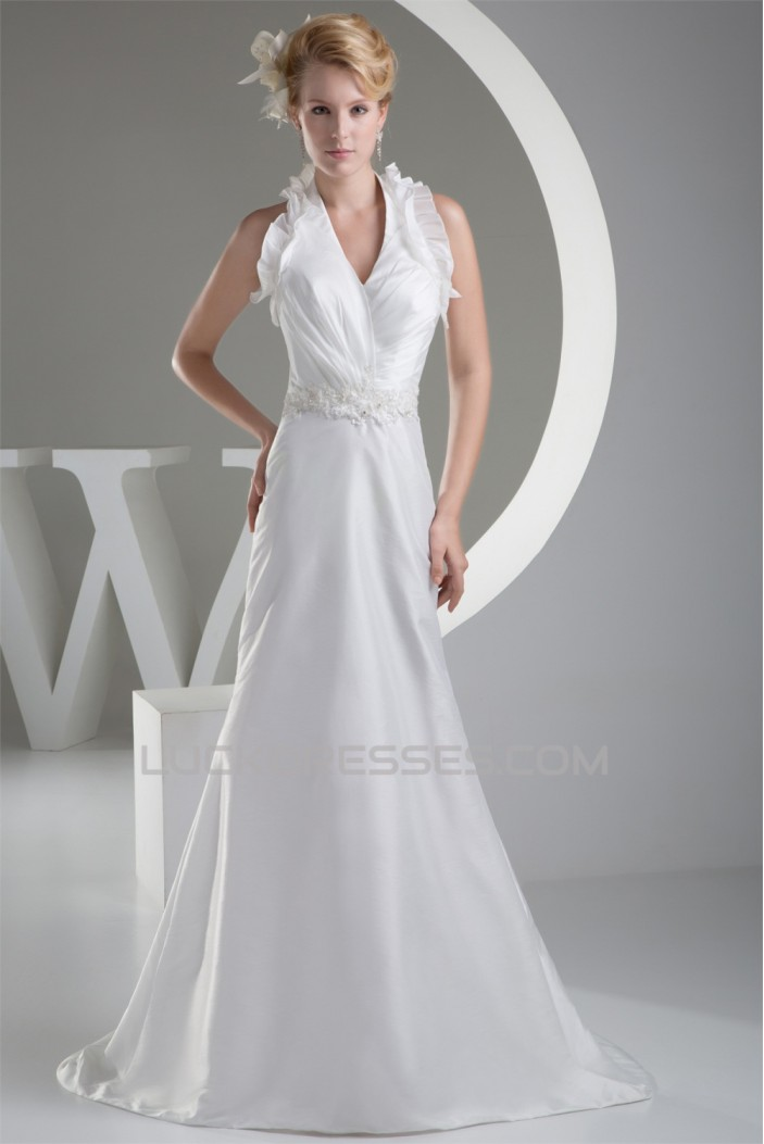 Sleeveless Halter Lace Taffeta Sheath/Column Sweet Wedding Dresses ...