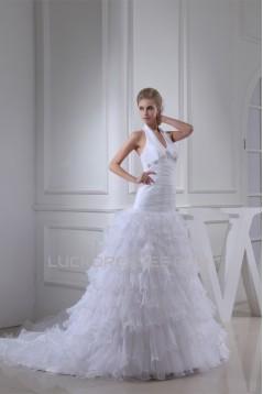 Sleeveless Halter Satin Organza Princess Reception Wedding Dresses 2030368