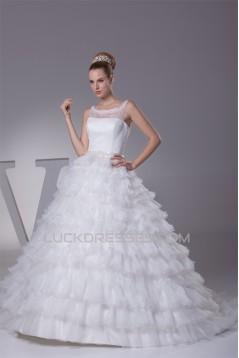 Sleeveless Satin Lace Organza Princess Strapless Reception Wedding Dresses 2030393