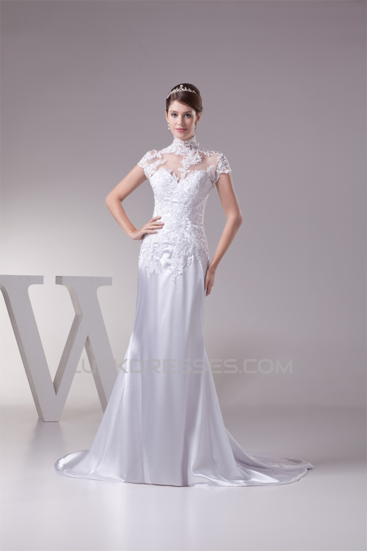 Trumpet Mermaid High Neck Lace Silk Like Satin Fine Netting Wedding Dresses 2030400