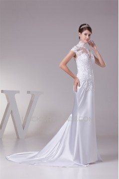 Trumpet/Mermaid High Neck Lace Silk like Satin Fine Netting Wedding Dresses 2030400