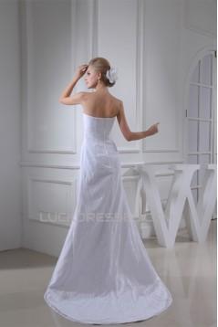 Sheath/Column Sleeveless Square Satin Lace Wedding Dresses 2030407