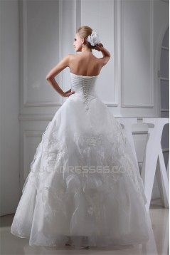 Sleeveless Sweetheart Satin Organza A-Line Sweet Wedding Dresses 2030427