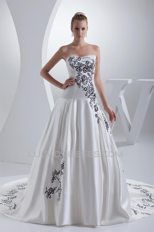 A Line Soft Sweetheart Sleeveless Satin Wedding Dresses