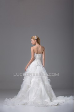 A-Line Strapless Satin Organza Sleeveless Most Beautiful Wedding Dresses 2030454