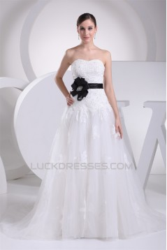 A-Line Strapless Satin Silk like Satin Lace Wedding Dresses 2030457