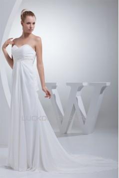 Sweetheart A-Line Chiffon Silk like Satin Best Wedding Dresses 2030468