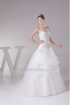 Sweetheart Princess Satin Fine Netting Lace Sleeveless New Arrival Wedding Dresses 2030482