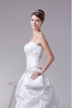 Ball Gown Taffeta Sleeveless Sweetheart Beaded Wedding Dresses 2030498