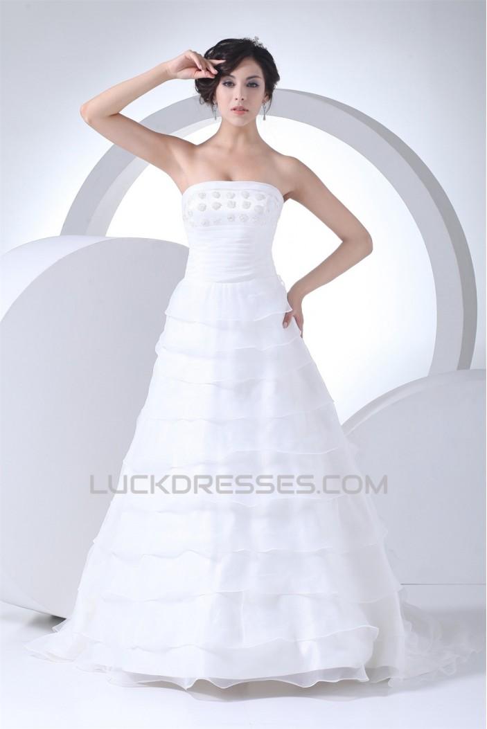 Sleeveless Square Satin Lace Organza Wedding Dresses 2030506