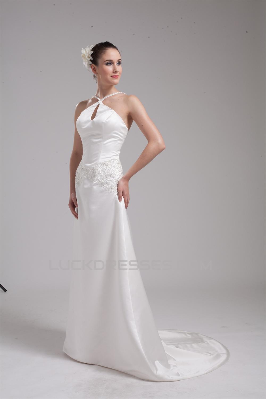 1d558a8647ee Wonderful Satin Sleeveless Halter A-Line Bead Wedding Dresses 2030522