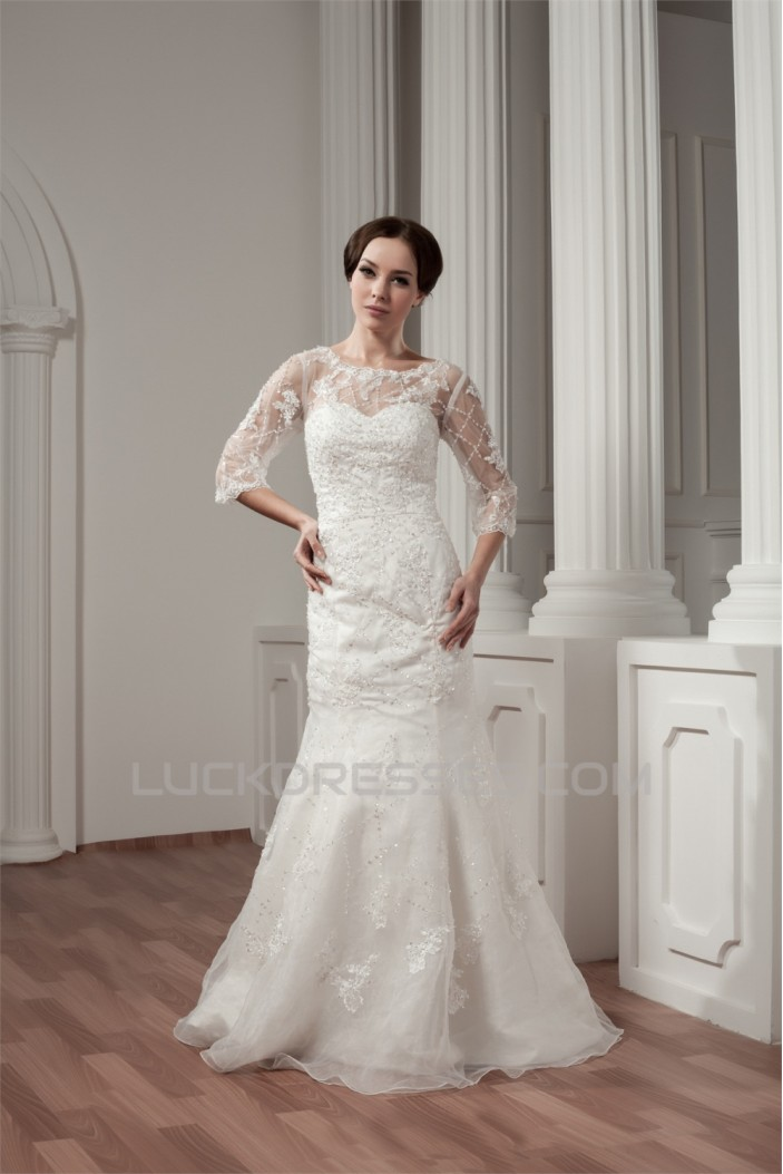 3/4 Length Sleeve Satin Portrait A-Line Most Beautiful Beaded Lace Wedding Dresses 2030527