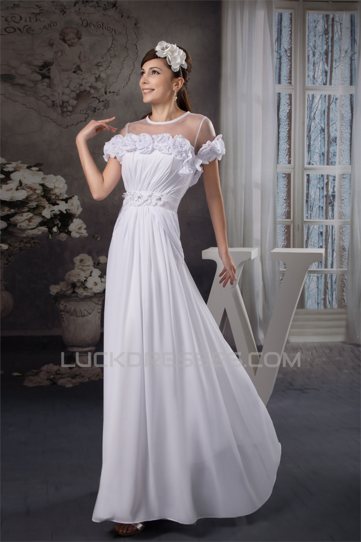 A Line Floor Length Chiffon Silk Like Satin Fine Netting Wedding Dresses 2030531
