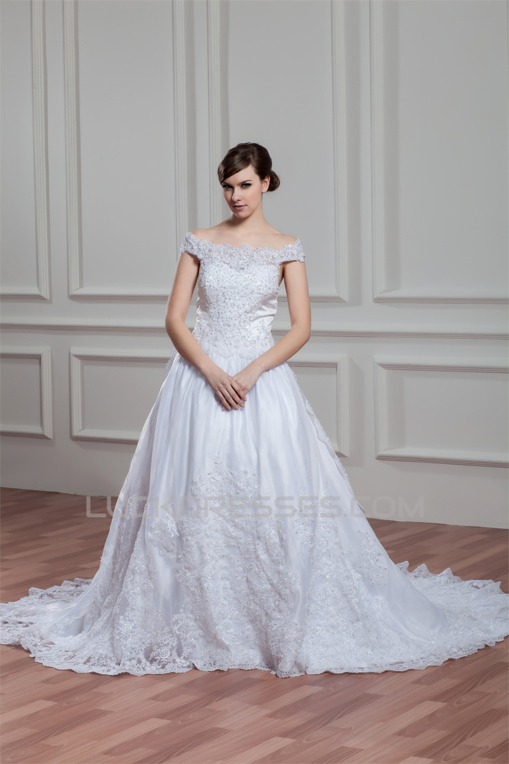 A Line Sleeveless Off The Shoulder Satin Organza Lace Wedding