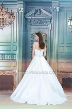 A-Line Sleeveless Soft Sweetheart Satin Beaded Lace Wedding Dresses 2030548