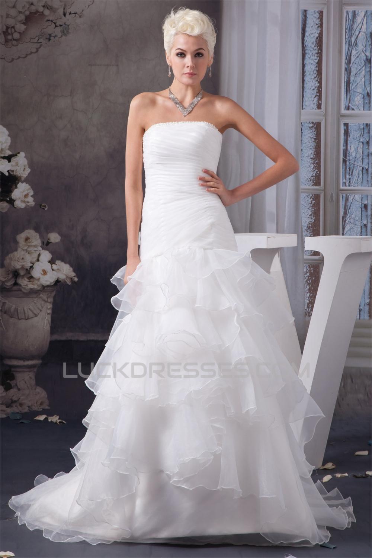 A-Line Sleeveless Strapless Beaded Wedding Dresses 2030551