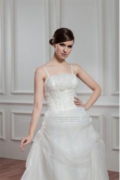 A-Line Spaghetti Straps Sleeveless Satin Organza Wedding Dresses 2030557