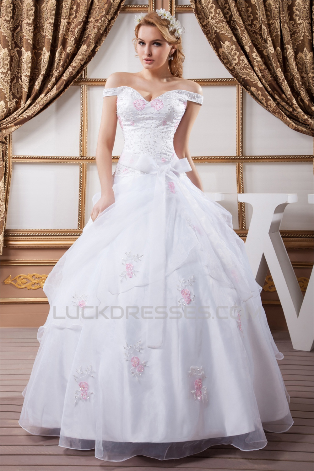 Amazing Ball Gown Off The Shoulder Satin Organza Wedding