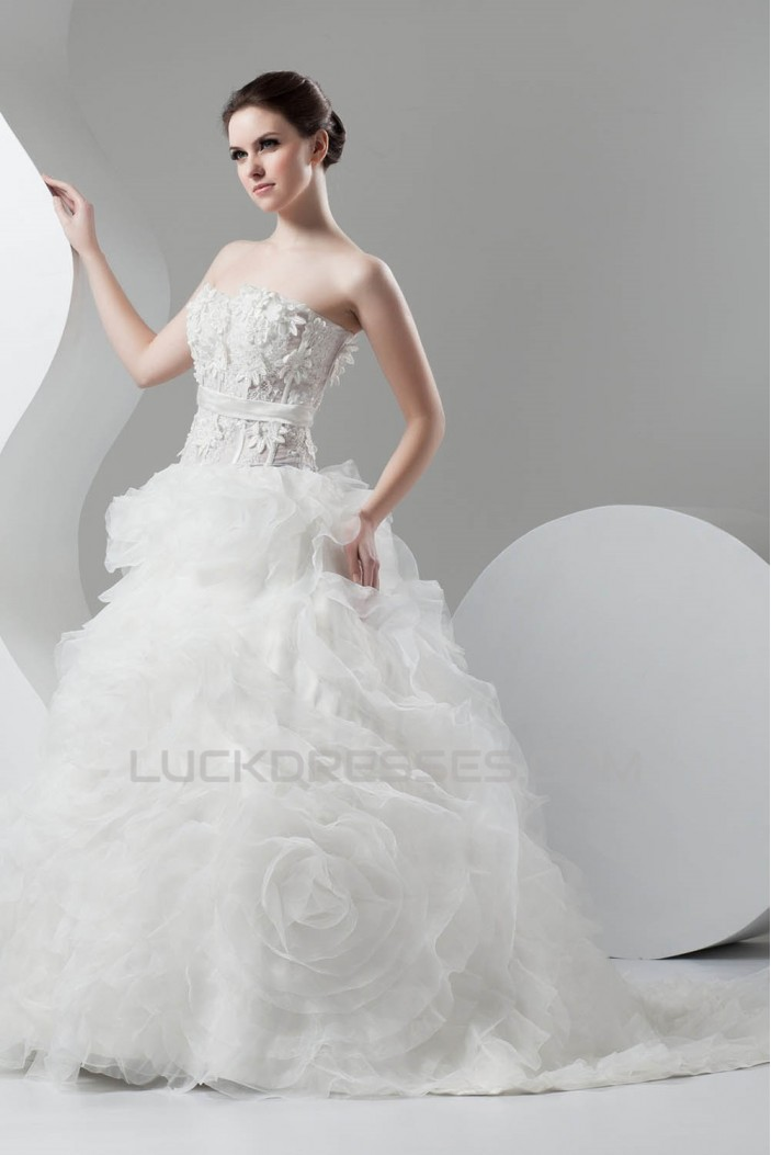 Amazing Sweetheart Ball Gown Sleeveless Satin Organza Wedding Dresses 2030593