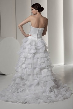 attractive Satin Strapless A-Line Sleeveless Wedding Dresses 2030597