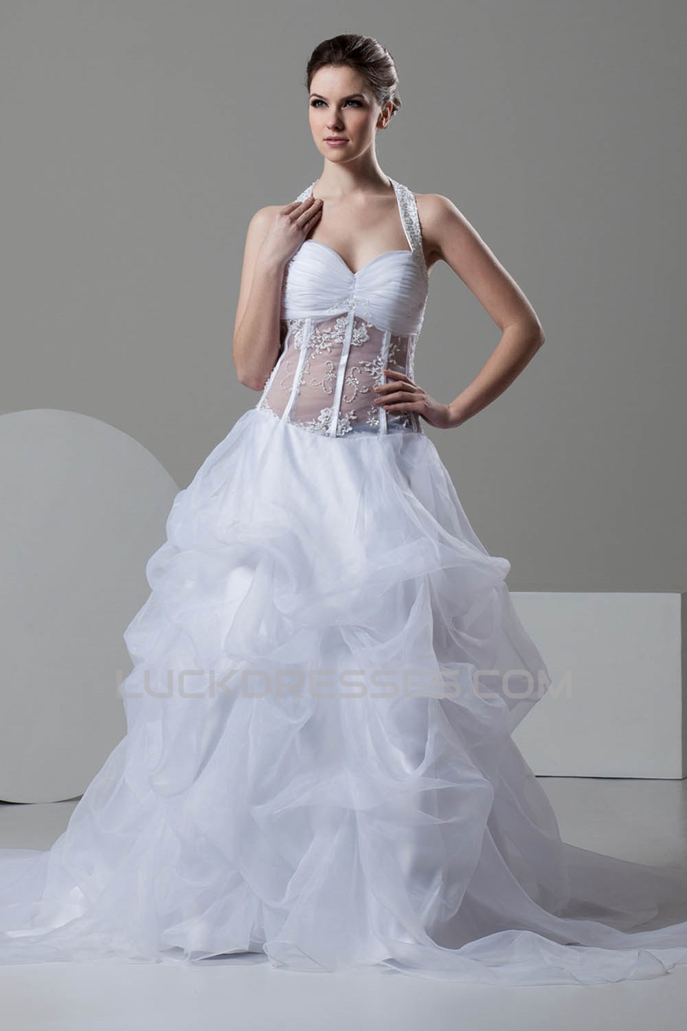 attractive Sleeveless A-Line Halter Satin Organza Wedding Dresses ...