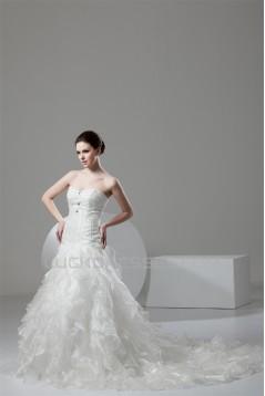 Ball Gown Sleeveless Satin Organza Sweetheart Embellished Wedding Dresses 2030608
