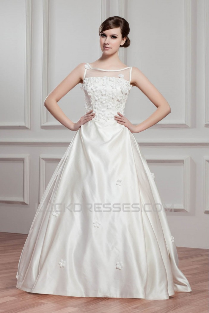 Breathtaking Ball Gown Satin Fine Netting Sheer Sleeveless Wedding Dresses 2030642