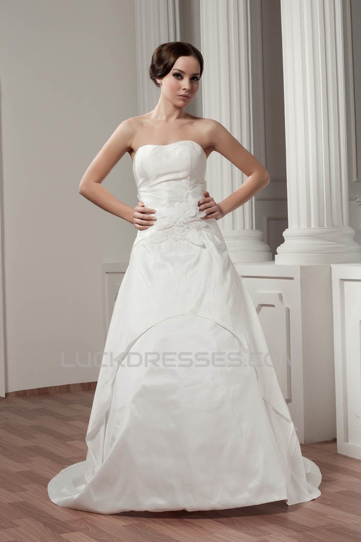 Breathtaking Satin Sleeveless Sweetheart A-Line Wedding Dresses 2030644
