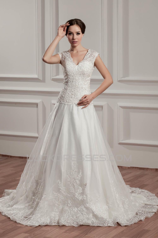 Breathtaking V-Neck A-Line Satin Organza V-Neck Lace Wedding Dresses ...