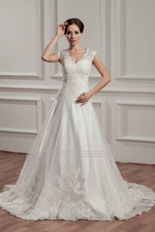 a66366211005 V Neck A Line Satin Wedding Dress - PostParc
