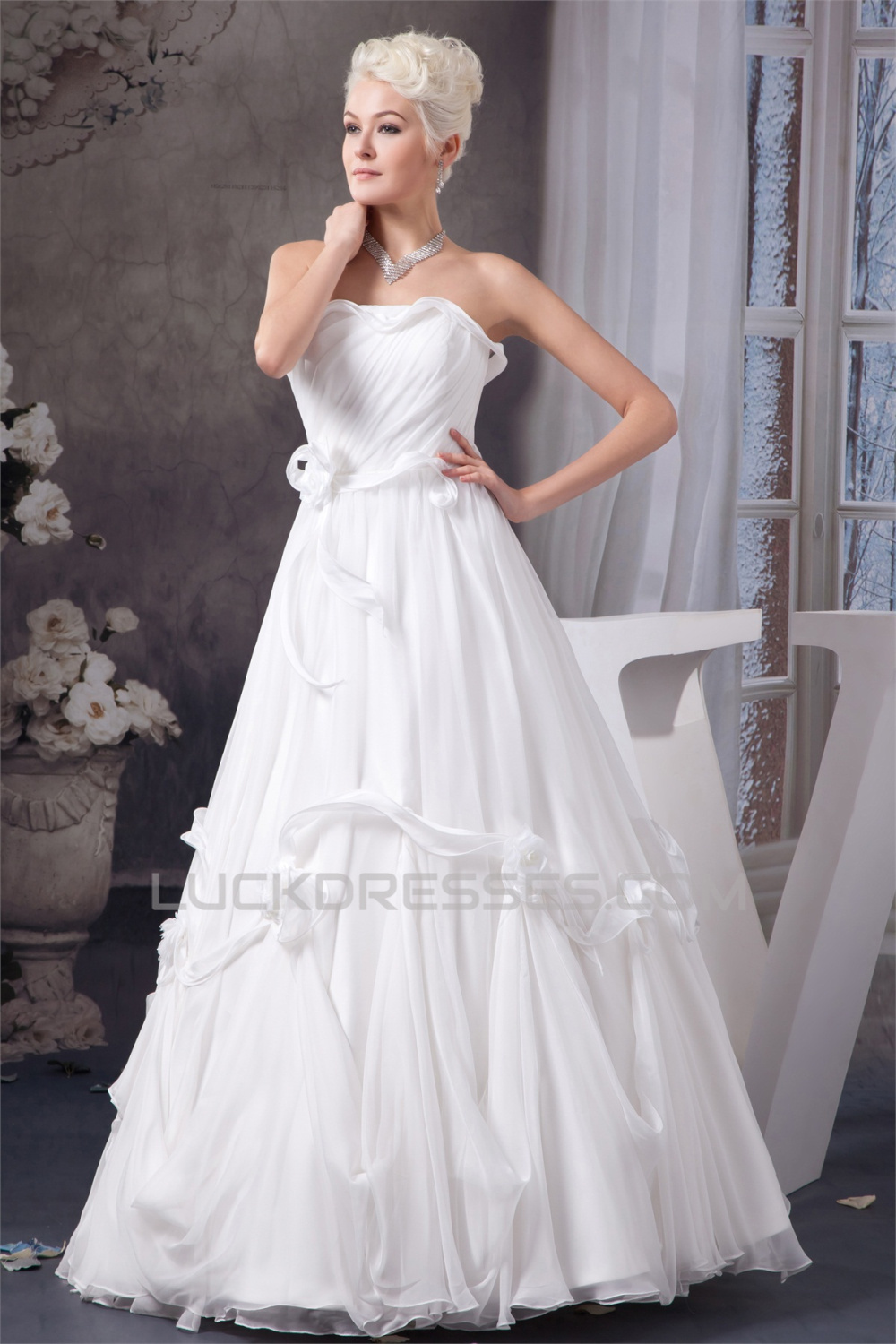 Chiffon satin silk like satin a line sleeveless most for Most gorgeous wedding dresses