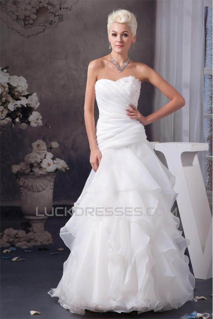 Fashionable Sweetheart Sleeveless Satin A-Line Sweet Wedding Dresses 2030709