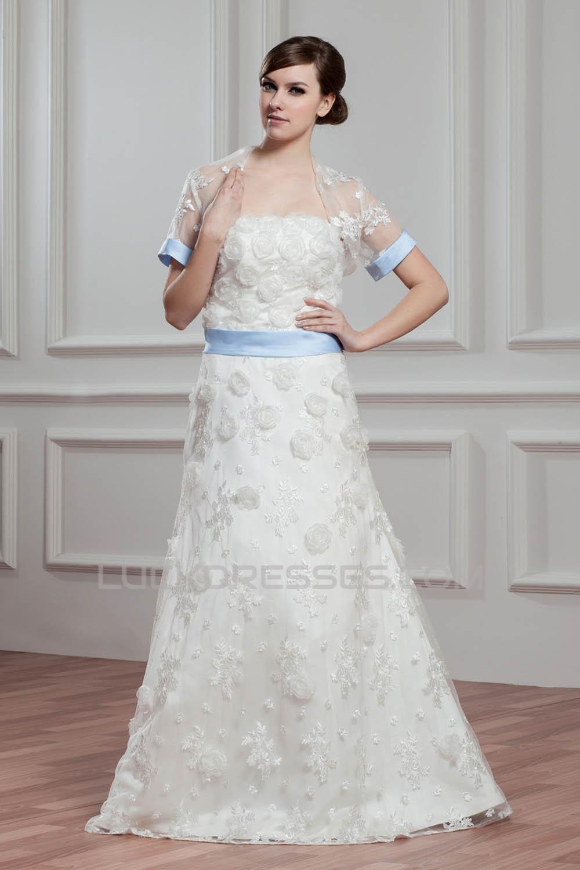 Satin Lace A Line Short Sleeve Floor Length Wedding Dresses With A