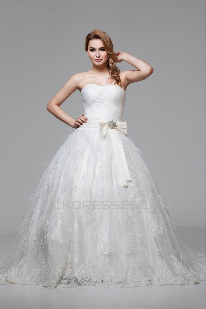 Great Ball Gown Soft Sweetheart Satin Organza Lace Wedding Dresses