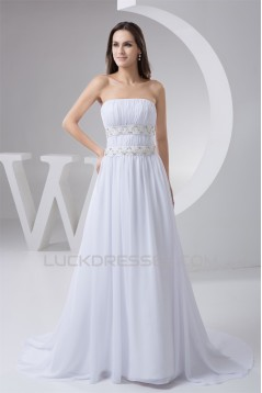 A-Line Strapless Chiffon Beaded Sweep Train Wedding Dresses 2030746